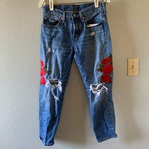 Floral Embroidered Ripped Levi's Jeans